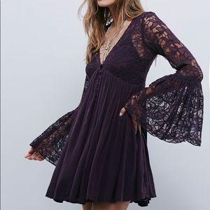 Free People Lace Bell Sleeve Mini Dress